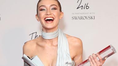 Gigi Hadid wins Model of the Year at Britain's Fashion Awards, gets very emosh