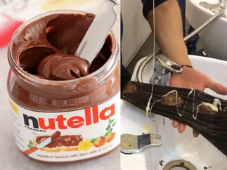 Hair salon dyes a woman's hair using Nutella and condensed milk and it's bloody glorious