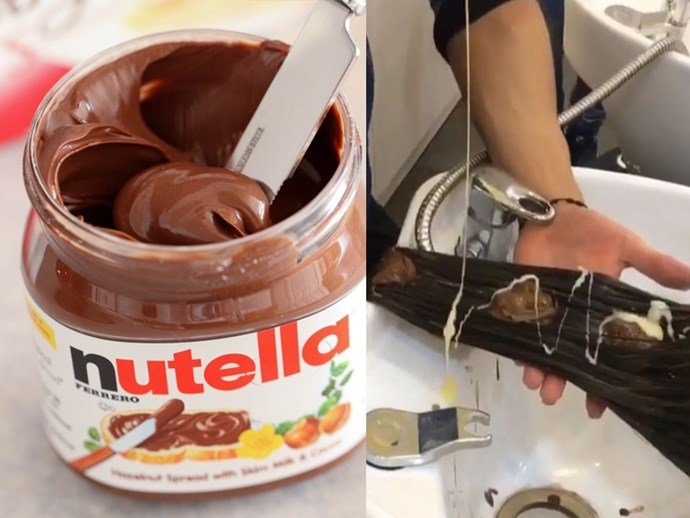 Nutella being used as a hair dye