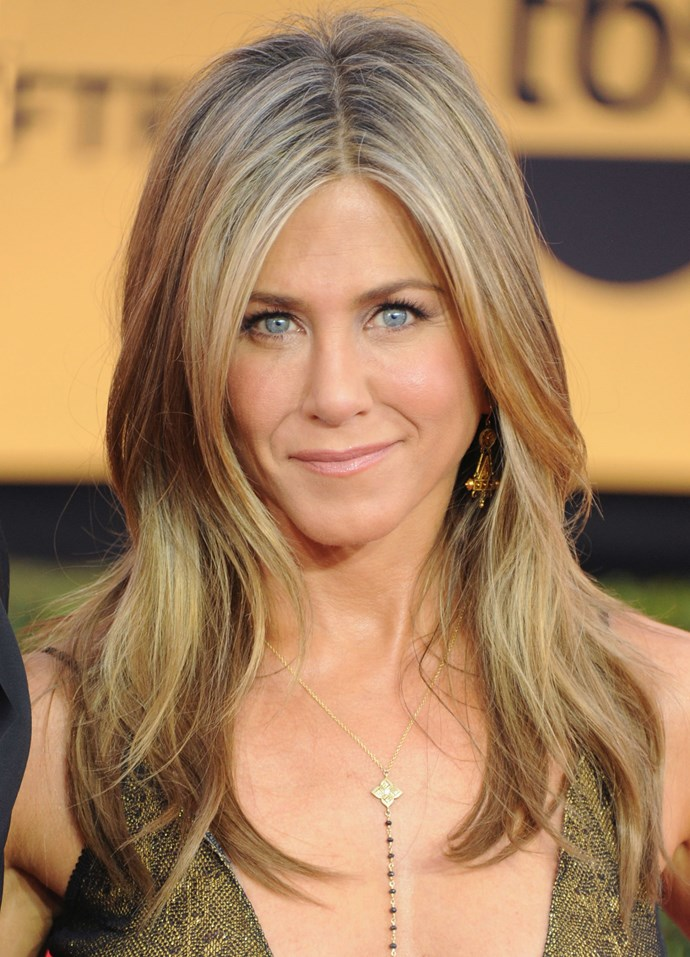 **ASHY HIGHLIGHTS**   Jennifer Anniston's fine highlights lighten up her locks, perfectly.