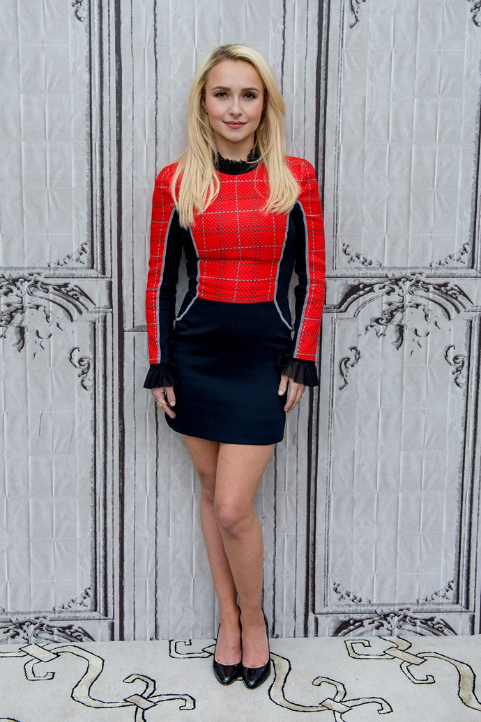 Hayden Panettiere is bringing back the plaid in this super-cute mini dress.
