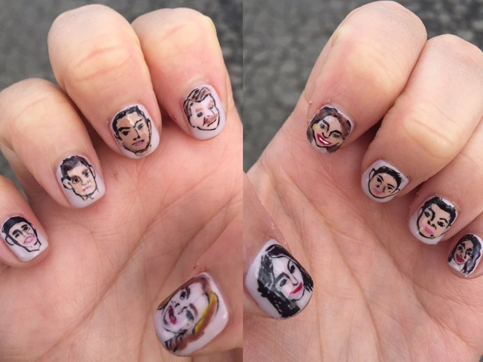 "**Rachel Bloom** <br> Previous Golden Globe winner and the lead of TV series Crazy Ex-Girlfriend took to twitter to show us that her cast members were with her via her crazy-detailed mani. The tweet read: ""Since I'm being honored at the #GoldenGlobes for my acting, it's only fair that I bring the cast of #CrazyExGirlfriend with me."" Cuute."