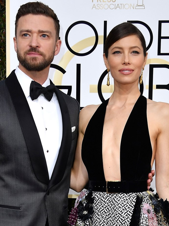 Here we see more sleek hair and more bold earrings, this time on Jessica Biel.