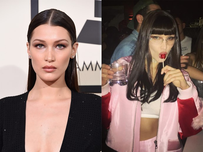 For her BFF's birthday bash, Bella Hadid showed off brand new bangs. Whether they're here to stay, or just a classic celeb wig trick, is yet to be revealed.
