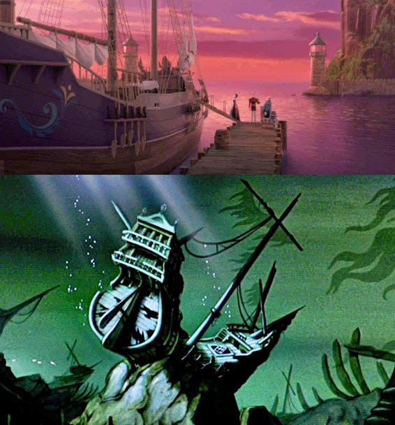 But as we know, the ship never makes it to the wedding and as a result, sinks to the bottom of the ocean and later becomes the shipwreck Ariel hangs out in *The Little Mermaid*. As for Anna and Elsa's parents? They survived the crash and swam ashore, but were sadly killed by the jaguar in *Tarzan* leaving him to be raised by the friendly gorilla tribe.