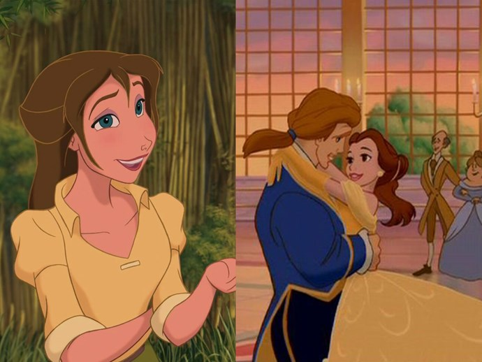 ***Tarzan* and *Beauty and The Beast* theory** It's widely believed that Jane from *Tarzan* is related to Belle. According to an extremely in-depth analysis by [Disney Theory](https://disneytheory.com/2014/04/15/tarzan-jane-beauty-and-the-beast-belle/), Jane is Belle's great, great, great, grand-daughter.