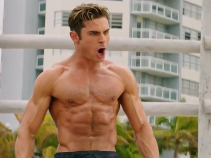 Zac Efron's abs in the new Baywatch trailer are honestly insane