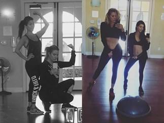 khloe kourtney kardashian gym workout