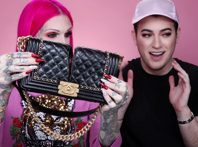 Jeffree star cut Chanel bag in half