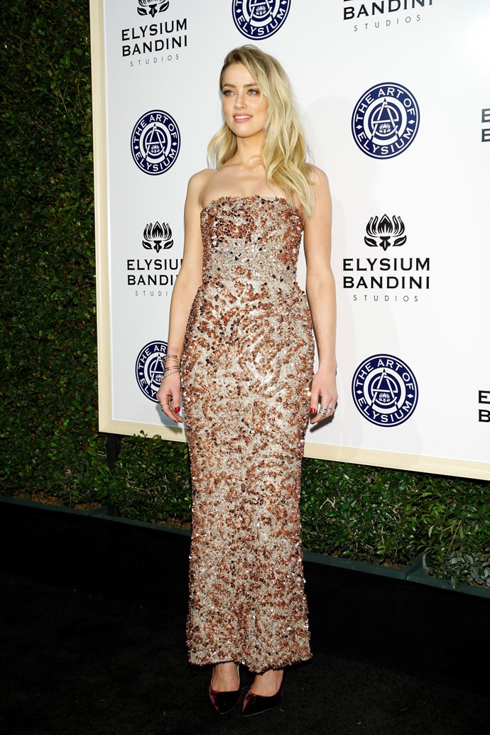 Amber Heard wears an ankle-grazing embellished peach stunner with velvet pumps and looks totes amaze.