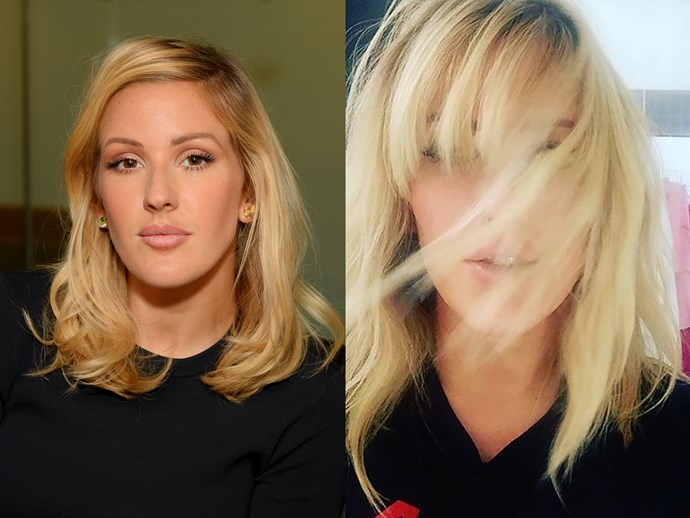 """**Ellie Goulding.** The popstar got a ~glam~ makeover courtesy of Chris """"The Rachel"""" McMillian, too. Ellie traded in her signature beachy texture for a more polished look complete with a strong side-swept fringe that looks mega fierce. WE LOVE."""