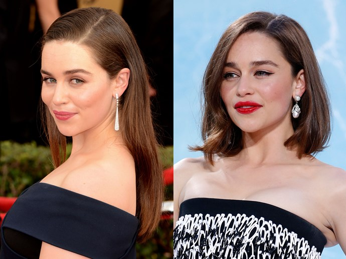 **Emilia Clarke.** The GoT star looked ACTUAL fire at the European premiere of *Terminator: Genisys*. Her dual-textured bob and rep lip = Saturday night beauty #goals. Try [Lipstick Queen Lipstick Saint in Saint Scarlet Red, $35](http://mecca.com.au/lipstick-queen/lipstick-saint/V-016108.html#q=red%2Blip&srule=whats-new&sz=36&start=1).