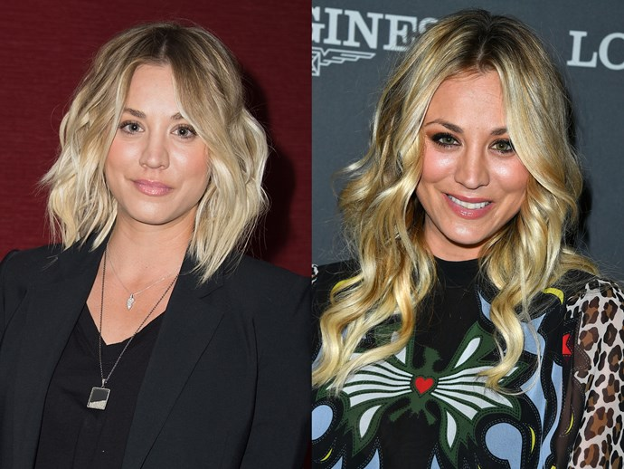 **Kaley Cuoco.** Most hair makeovers go from long to short, but not Kaley. *The Big Bang Theory* star told her Insta followers that she likes to change her hair after each season of playing Penny. Cue: bye bye, bob, *helloooooo* amazing lengths!