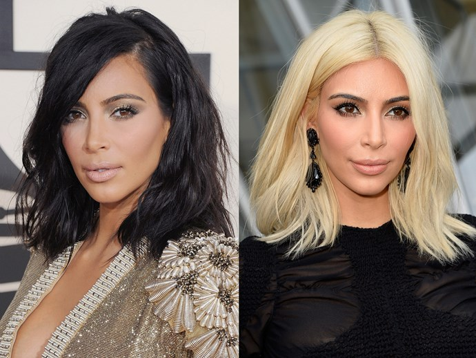 **Kim Kardashian West.** 'K so she'd been blonde before (back when her and Reggie Bush [called it quits](http://www.cosmopolitan.com.au/beauty/celebrity-breakup-haircuts-19467)) but Kim's ~Parisian~ platinum was ALL anyone could talk about during Fashion Week A/W 15. Well played, Mrs West.
