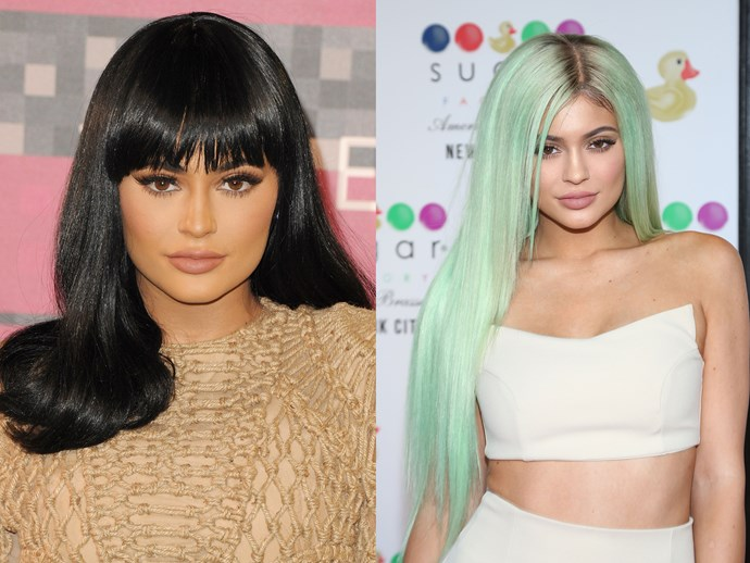 **Kylie Jenner.** Given that kween Kylie has had a gazillion ~glam~ makeovers, it's hard to pick a fave. But her mint-green mermaid hair stands out as being cute *and* on point for their debut location: NYC's Sugar Factory American Brasserie.