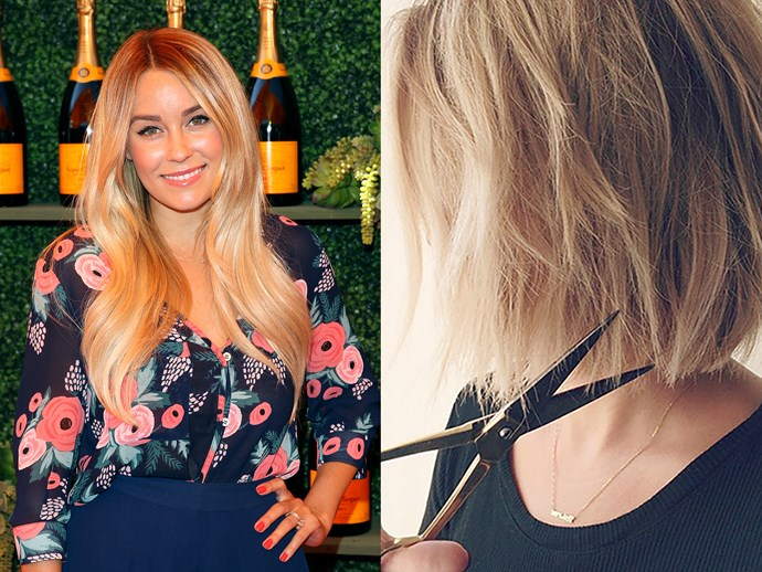 **Lauren Conrad.** LC took the gradual approach to going short in 2014. Over the course of three weeks she had three cuts that took her from long to lob to bob. Slow and steady wins the race!