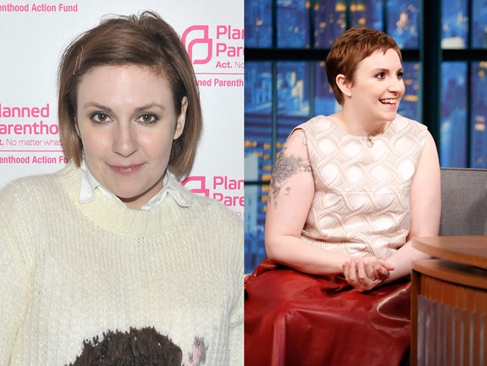 **Lena Dunham.** The *Girls* creator looked next-level when she appeared on *Late Night with Seth Meyers* with her brand-new pixie cut back in 2015 giving us major #ShortHairGoals.