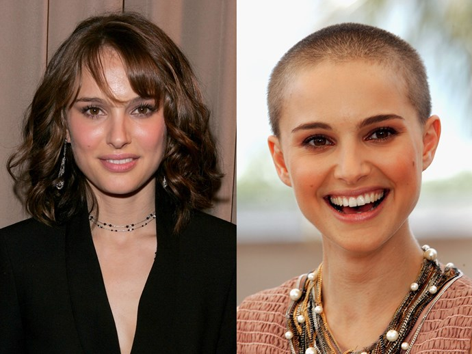 **Natalie Portman.** ICYMI 12 years ago the actress shaved her head for *V for Vendetta* and we're STILL talking about it, it was that awesome.