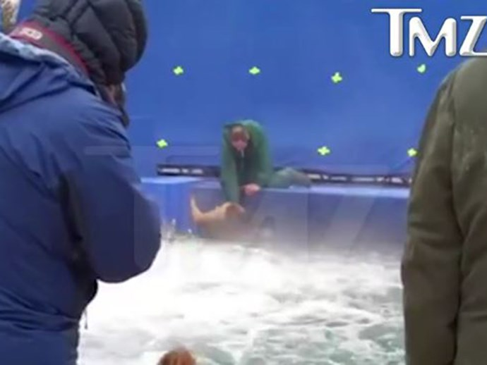 Leaked footage shows a terrified dog being forced into rough waters for upcoming movie