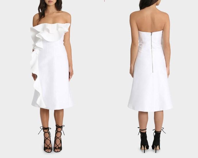 "Dress, $390, By Johnny at [Myer](http://www.myer.com.au/shop/mystore/women/designer/designer-dresses/by-johnny-the-tess-angel-strapless-dress target=""_blank"" rel=""nofollow"")."