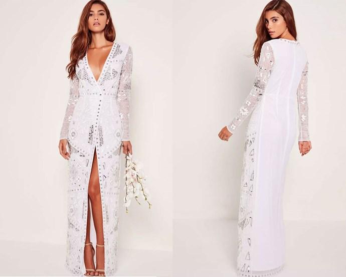 "Dress, $330.95 at [Missguided](https://www.missguidedau.com/bridal-sequin-wrap-maxi-dress-white target=""_blank"" rel=""nofollow"")."