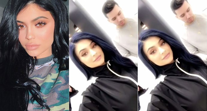 Kylie Jenner can't seem to settle on a hair colour. One minute, the reality TV star is blonde, the next she's a brunette.    Late last week, Jenner tried something new, debuting her new, **blue** hair on Snapchat. Safe to say, this one's a wig.