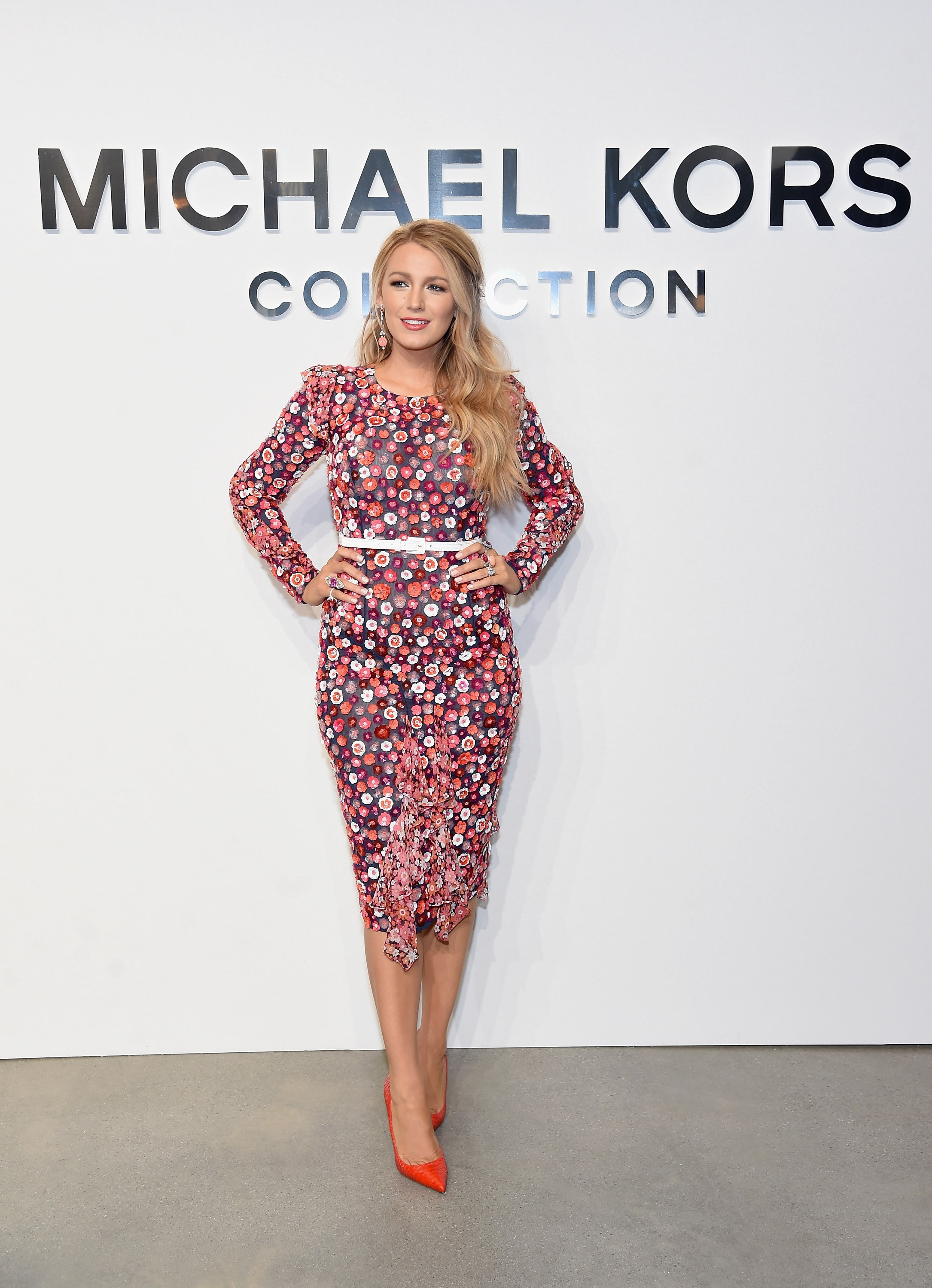 She was shining bright on the front row at Michael Kors show in this 3D floral look.
