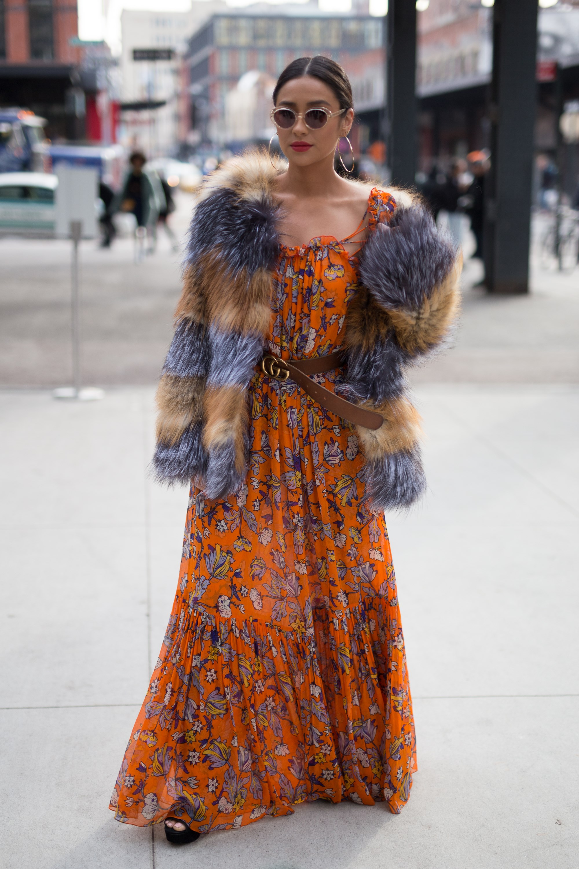 SPOTTED:  Shay Mitchell outside the Tory Burch fashion show during New York Fashion Week, serving up some serious boho outfit goals.