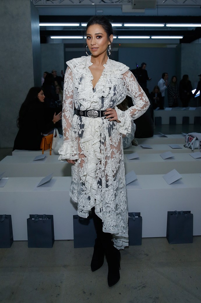 Shay had a major moment in white lace at the Zimmermann frow.