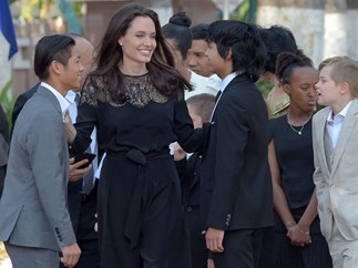 Angelina Jolie and kids in Cambodia