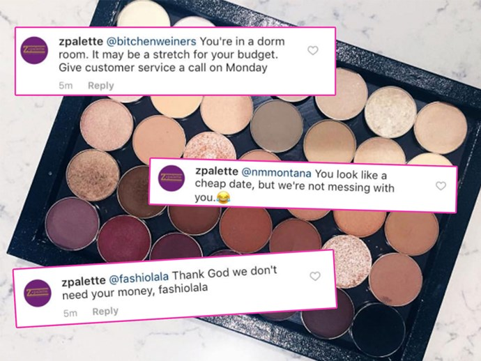 Z Palette bully customers on Instagram