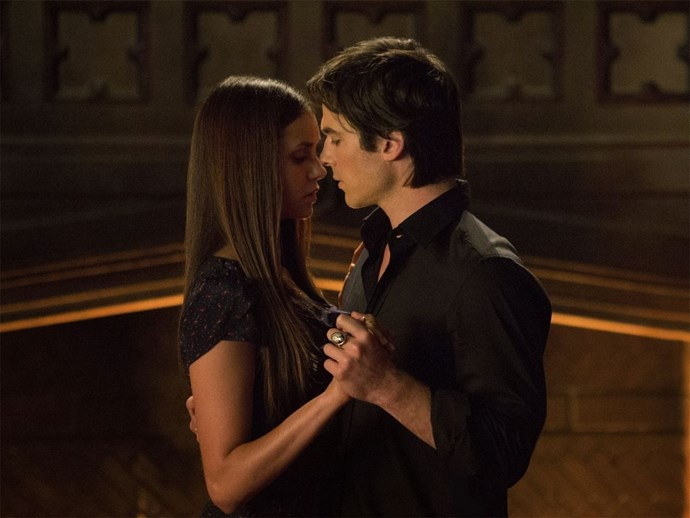 Damon and Elena from The Vampire Diaries.
