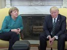Donald Trump refused to shake Angela Merkel's hand and her reaction is all of us