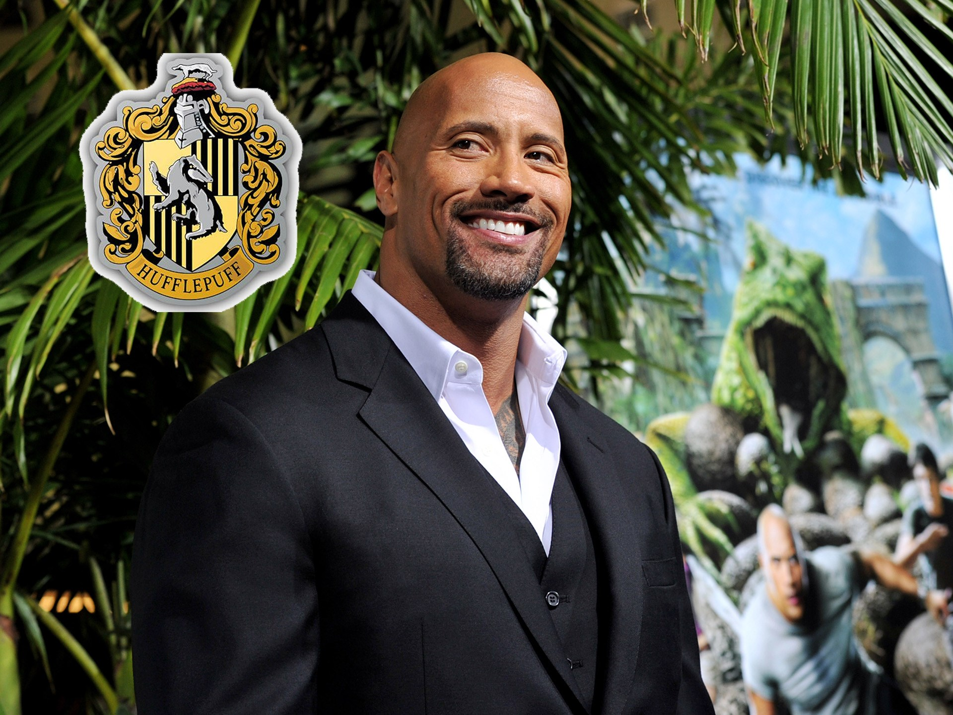 "Yep, that's right! **Dwayne ""The Rock"" Johnson** is a Hufflepuff. He confirmed the news on Twitter, writing, ""Huffpuffs in the house!"""