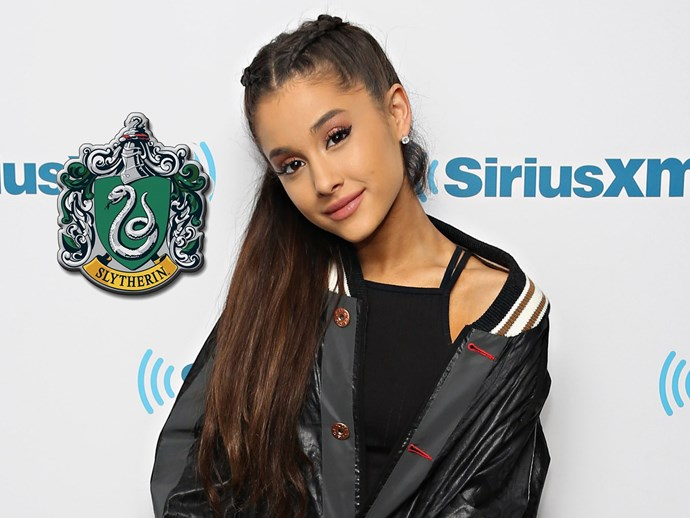 """When Tom Felton told **Ariana Grande** he sorted her into Gryffindor, Ari revealed that she's actually a Slytherin! """"Pottermore said Slytherin but I'll take it,"""" she wrote."""