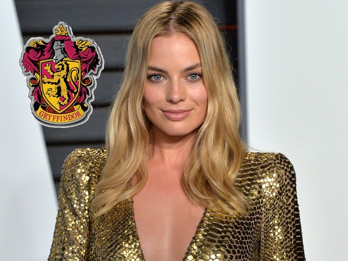 """**Margot Robbie**, a closet nerd, revealed last year that she's a Gryffindor. """"I'm in Gryffindor, obviously… but I totally rigged my answers [on the Pottermore quiz]. I could totally tell which answers were going to get me into Gryffindor, and so those were my answers. I do think I'd be in Gryffindor anyway, but I definitely manipulated the quiz in my favour."""""""