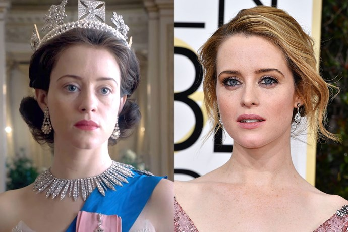Claire Foy, who plays Queen Elizabeth on *The Crown*, proves what a difference a tan, eye makeup and light hair make.