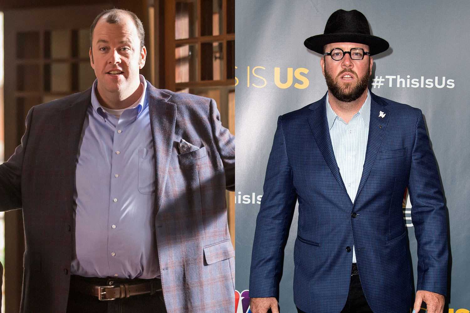 "Chris Sullivan, who plays the very lovable Toby on *This Is Us*, [wears a fat suit for the role](http://pagesix.com/2017/02/07/surprise-chris-sullivan-from-this-is-us-wears-a-fat-suit/|target=""_blank"")! The set secret was revealed when a picture of Chris IRL surfaced on the web, and everyone noticed he looked very different."