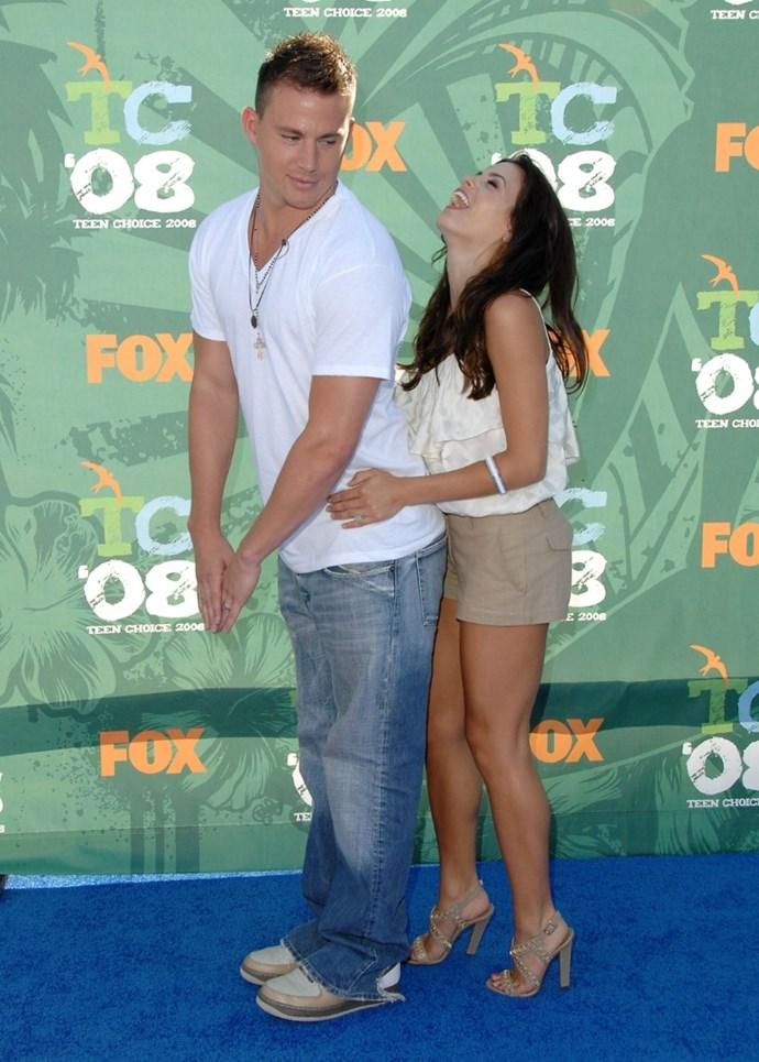 **August 2008**  Just weeks before their engagement, Channing and Jenna larked around on the Teen Choice Awards red carpet in LA.