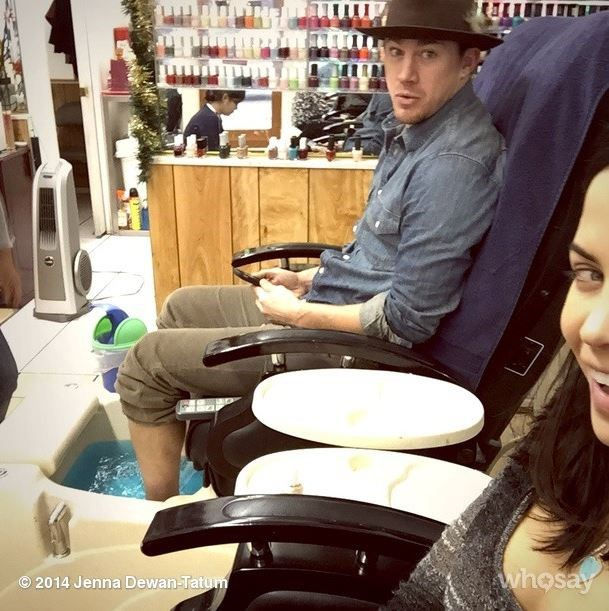 """**December 2014**  Jenna made Channing get a pedicure to celebrate her birthday, and we're considering getting this photo painted in our living room.  Instagram: [@jennaldewan]( https://www.instagram.com/jennaldewan/?hl=en