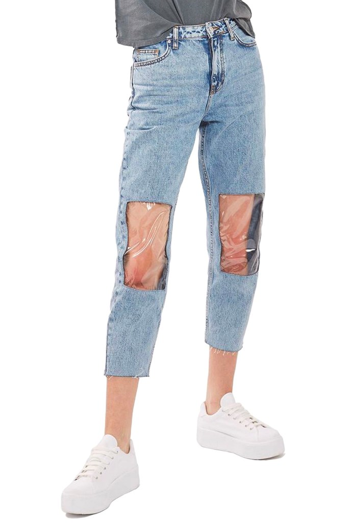 """Dis a joke? Stop trying to make 'jindows' (AKA 'jeans with windows') happen [Topshop](https://au.topshop.com/moto-clear-panel-mom-jeans.html target=""""_blank"""" rel=""""nofollow""""). The biggest downside to this awfulness? Someone actually thought it would be a good idea to make a pair of jeans where you *still* have to shave your legs. MADNESS, we tell ye."""