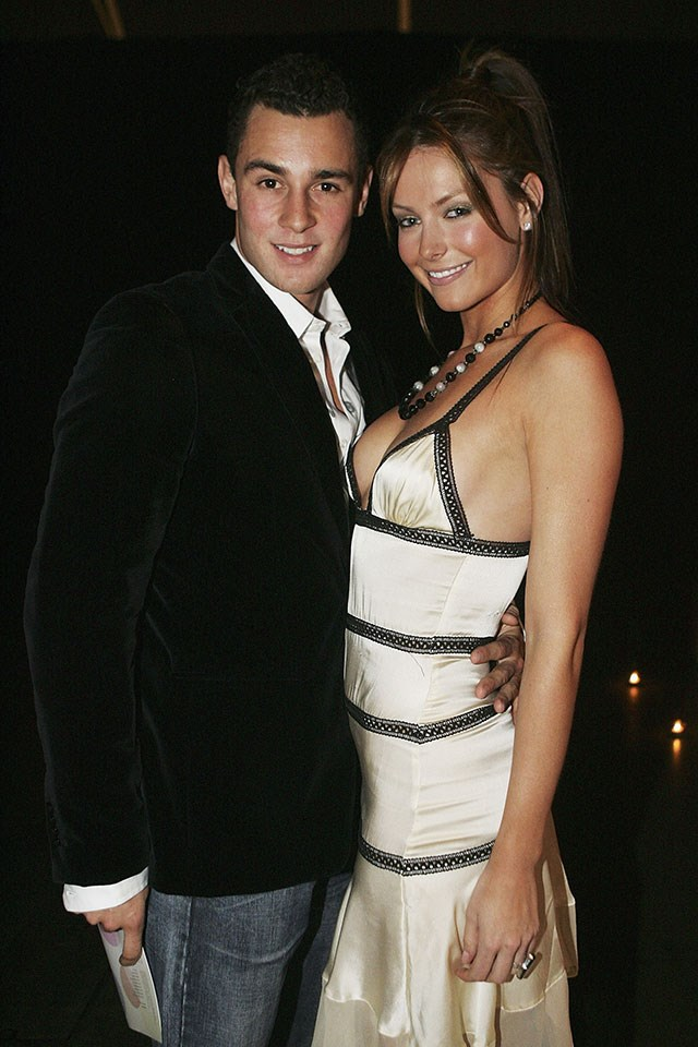 **Jake Wall and Jennifer Hawkins**  At the Lancôme Colour Design Awards in June 2005.