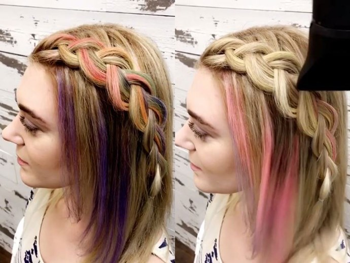 This ~magical~ hair dye changes colour when you blow-dry your hair