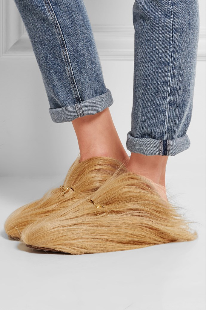 """Don't even get us started on [this](https://www.net-a-porter.com/au/en/product/607338/Gucci/horsebit-detailed-goat-hair-slippers target=""""_blank"""" rel=""""nofollow"""") ridiculousness RN. Chewbacca called, he wants his feet back."""