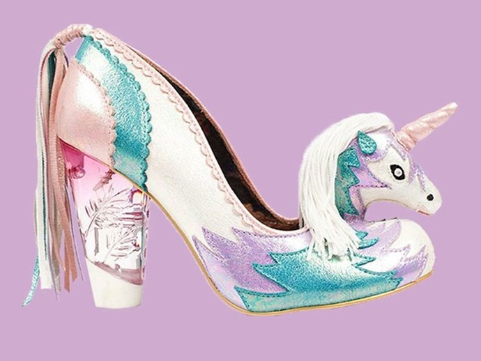 """While we are self-confessed [unicorn ADDICTS](http://www.cosmopolitan.com.au/weddings/unicorn-engagement-rings-21532 target=""""_blank""""), even *we* can see that this pair of [Irregular Choice](http://www.irregularchoice.com/catalogsearch/result/?q=unicorn target=""""_blank"""" target=""""nofollow"""") pumps has taken things wayyyyyy to far. It's a 'no' from us."""
