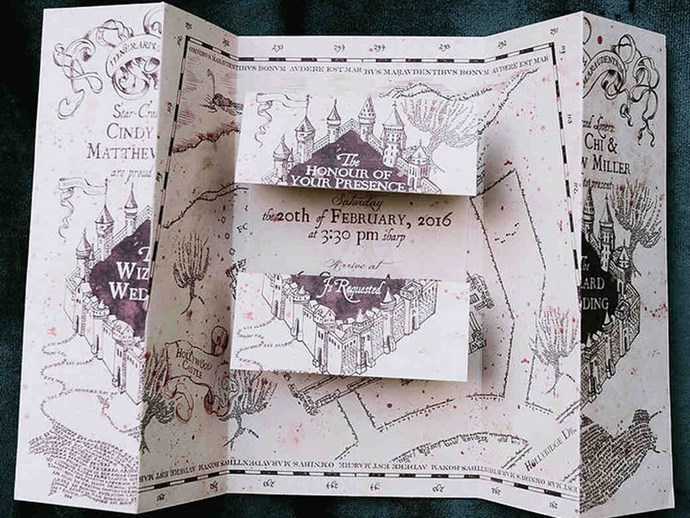 "They got a legit artist to mock up a Marauder's Map for the invitations and we're already OBSESSED.   [Nirav Patel Photography](http://niravpatelphotography.com/|target=""_blank""