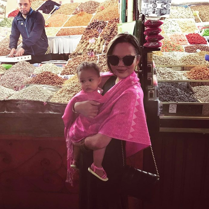 Luna and Chrissy hitting the markets in Morocco.