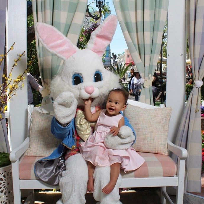 LOOK and how happy she is meeting the Easter Bunny!