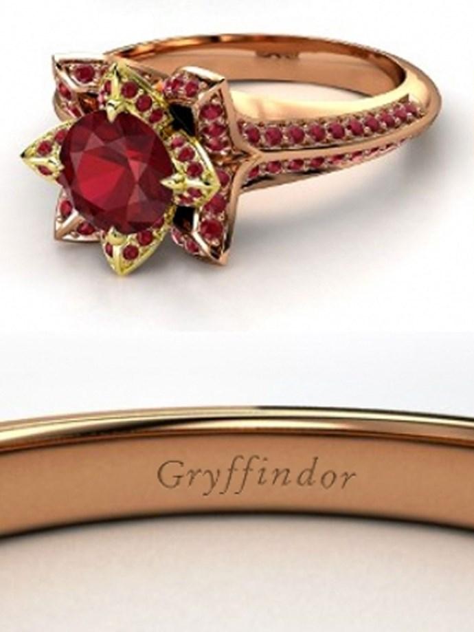 "**Harry Potter: Gryffindor**   Customise at [Gemvara](https://www.gemvara.com/jewelry/brilliant-lotus-ring/round-black-diamond-14k-white-gold-ring-with-diamond/zm8lm|target=""_blank""|rel=""nofollow"")."