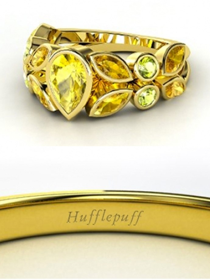 """**Harry Potter: Hufflepuff**   Customise at [Gemvara](https://www.gemvara.com/jewelry/king-claddagh-ring/heart-blue-topaz-14k-white-gold-ring-with-sapphire/b1df1